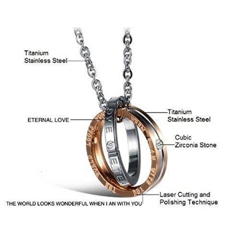 Ben noto AIBI in acciaio INOX per coppia con pendente a forma di anelli di  TT99