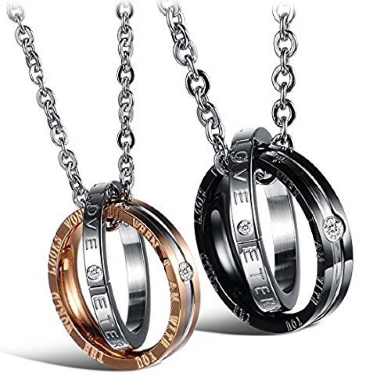 Popolare AIBI in acciaio INOX per coppia con pendente a forma di anelli di  BA19