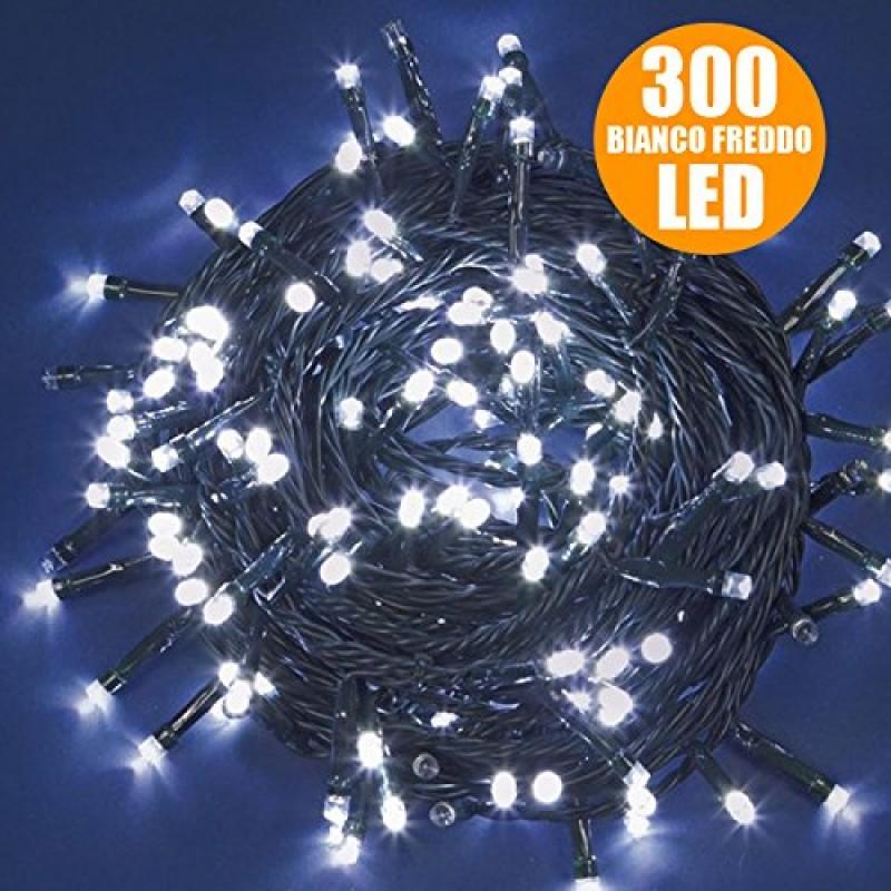 Catena luci a led luminosa natalizia 28 5 metri 300 led - Catena di luci per esterno ...