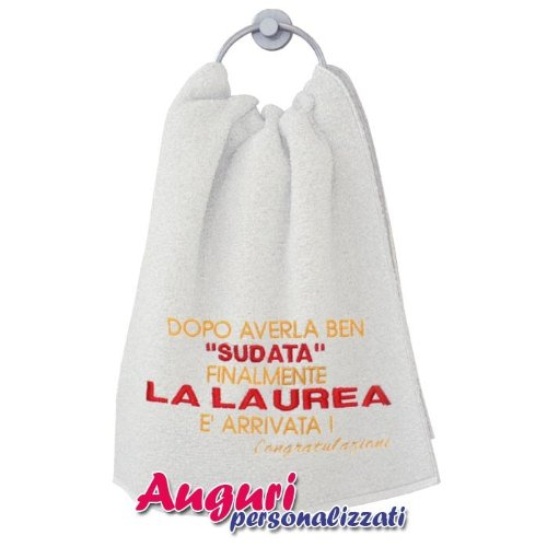 Asciugamano idea regalo umoristica e divertente per festeggiare una laurea sudata
