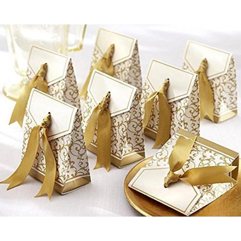 Eccezionale bomboniere scatole matrimonio oro anni cerimonia festa regalo invito DH57