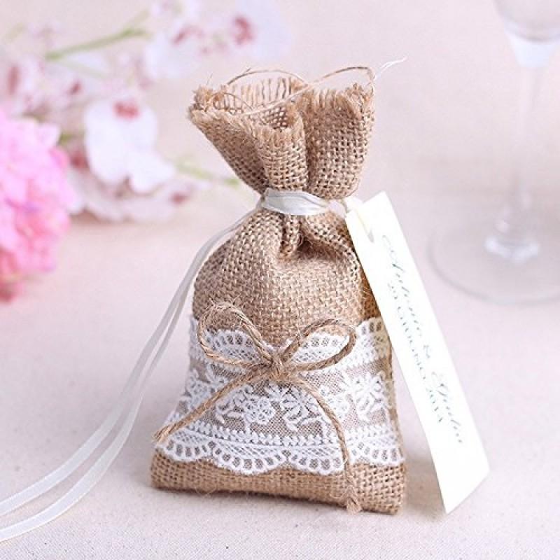 Matrimonio Tema Juta : Pz sacchetti sacchetto rustici iuta naturale in lino con