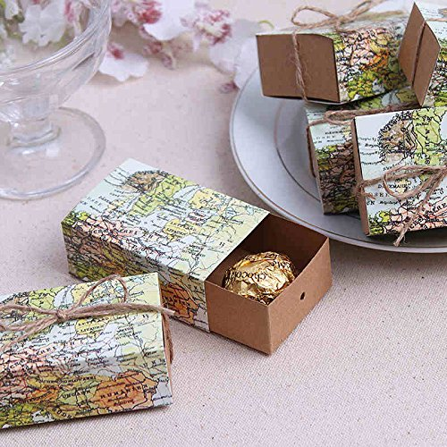 50pz Scatole cubo Portaconfetti Bomboniera tema viaggio mappa mondo