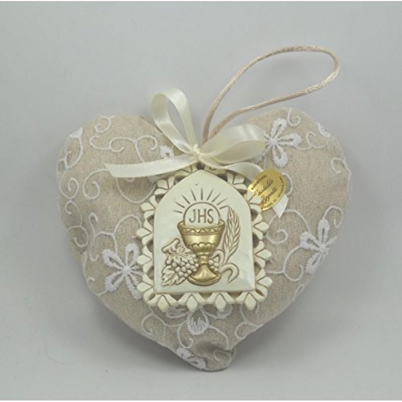 spesso Bomboniera per Prima Comunione cuore imbottito porta confetti in  IB24