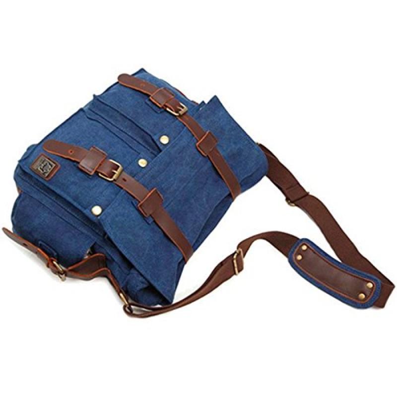 Drf borsa messenger da uomo in tela e pelle porta laptop - Porta pistola da spalla ...