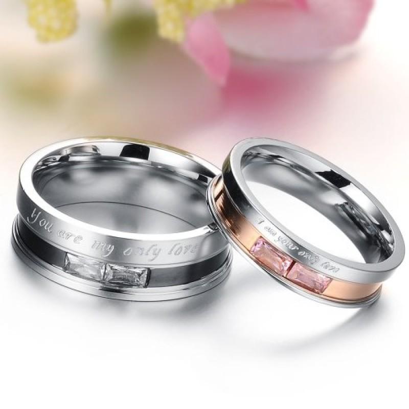 Popolare Coppia di anelli-Fede nuziale da uomo in acciaio INOX GJ329  FT38
