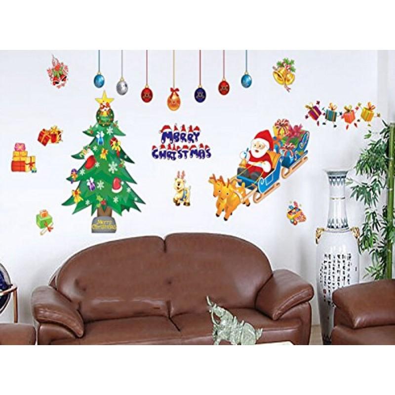 Santa claus alberi di natale home adesivo da parete - Alberi decorativi da parete ...