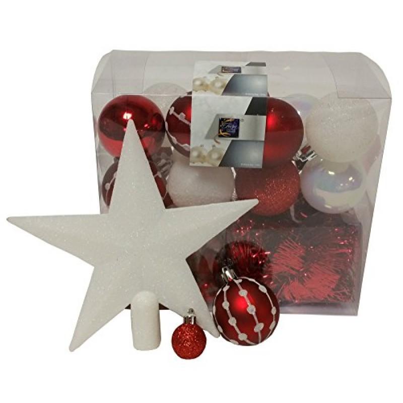 decorazione natalizia kit 44 pezzi per decorare l 39 abete ghirlande palle e puntale tema. Black Bedroom Furniture Sets. Home Design Ideas