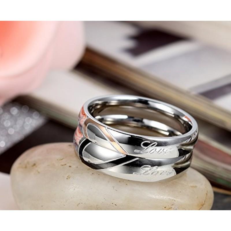 Favoloso anello donna 4mm Bands argento oro,uomo e donna completo un cuore  GD16