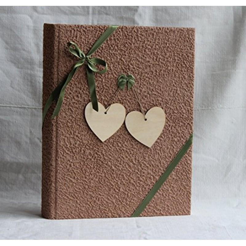 Album Matrimonio In Legno : Album fotografico con cuori in legno portafoto