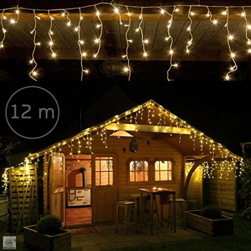480 led 12m tenda luminosa a cascata luci natale bianco caldo interno esterno. Black Bedroom Furniture Sets. Home Design Ideas