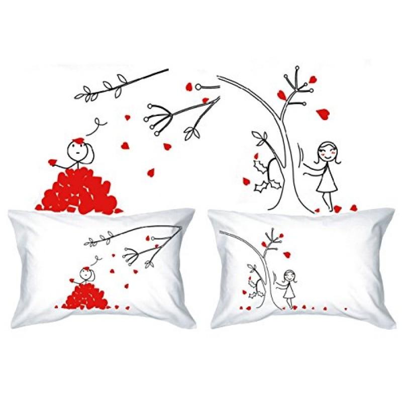 Famoso PETALS-LOVE & His Hers-Federa per cuscino, motivo vintage  AV07