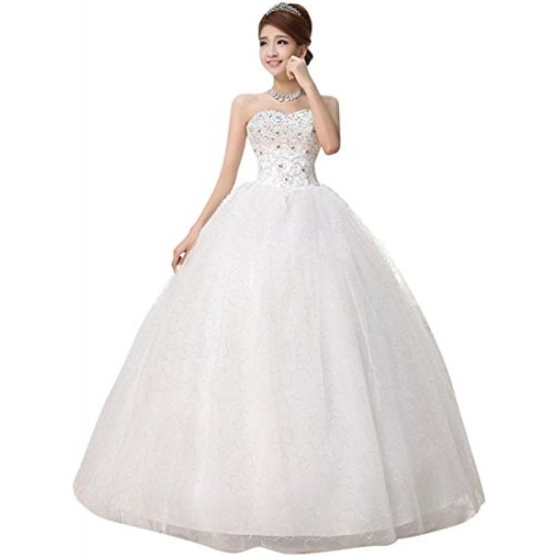 spesso Donne Bianco Senza Spalline Formale Matrimonio Vestito Ballo Di  MK27