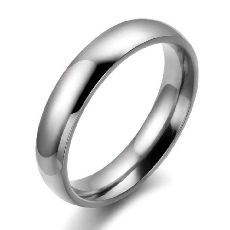 Conosciuto Gioielli anello 4mm lucido acciaio inossidabile coppia comodo  BK84