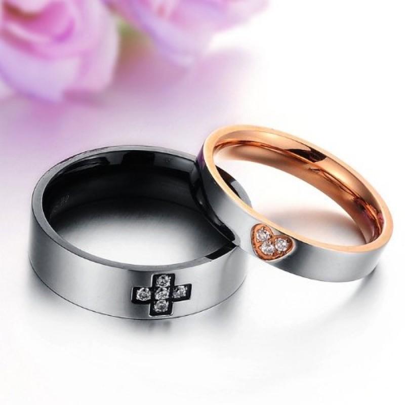 Top JewelryWe Gioielli anello nuovo cuore acciaio inossidabile coppia  QZ56