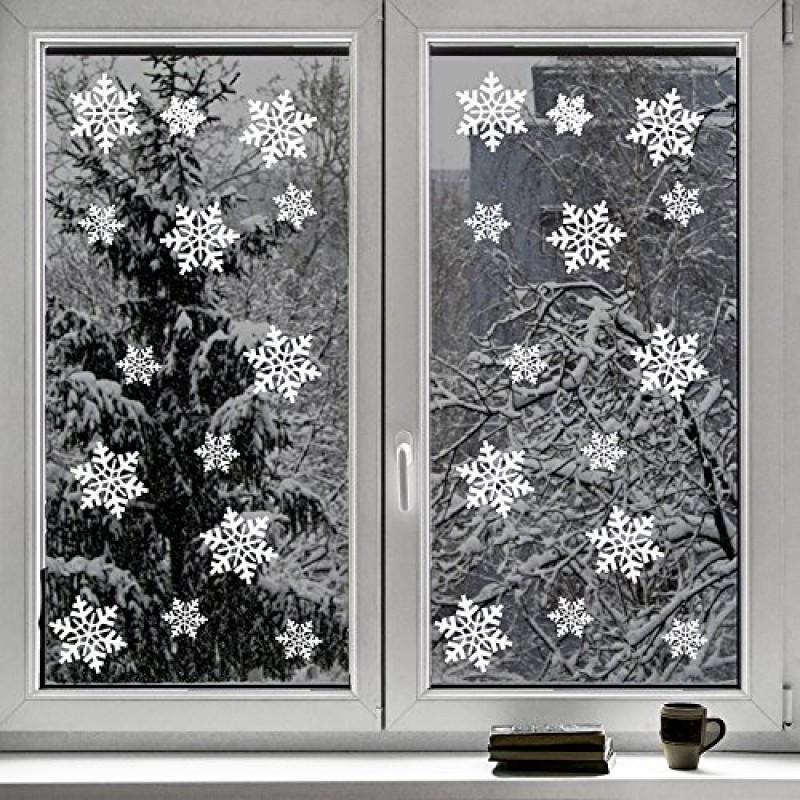 Set da 100 pezzi vetrofanie adesivi di natale a forma di - Adesivi finestre natale ...