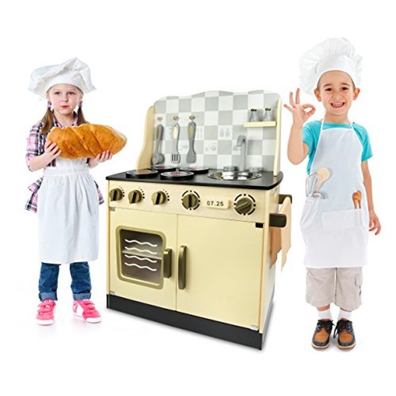 Leomark Cucina Vintage giocattolo in legno Cucina accessoriata per bambini