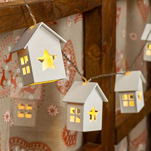 Catena a batteria 1m 6 casette in legno con stella led - Decorazioni in legno per natale ...