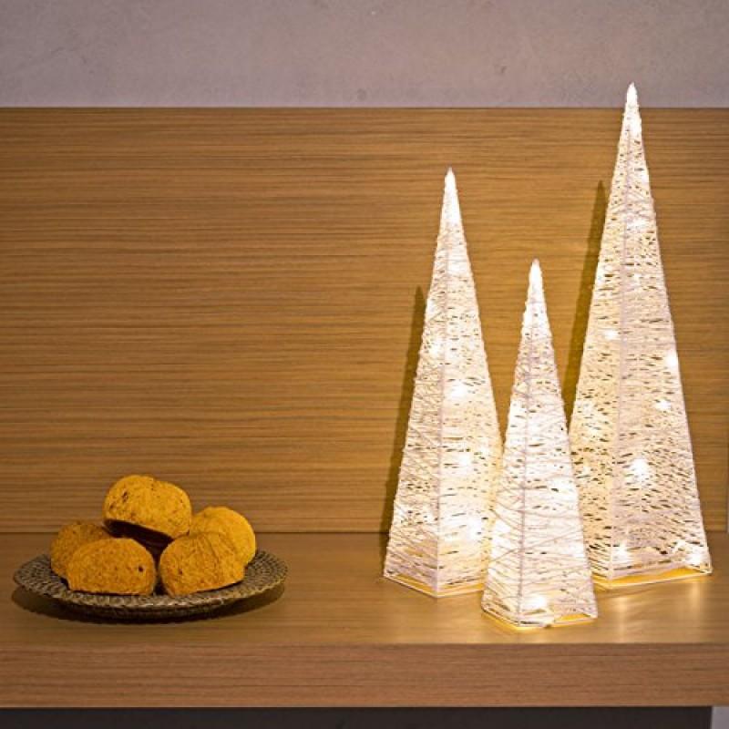 Set 3 piramidi wp 40 50 60 cm led bianco caldo luci - Luci decorative ...