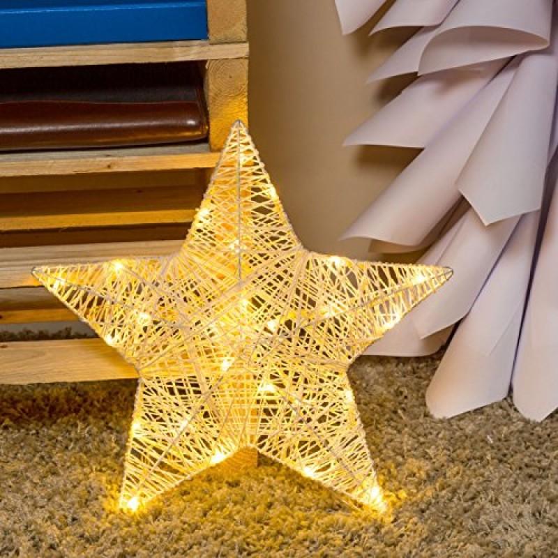 Stella di carta da appendere 40 cm 25 led bianco caldo for Decorazioni di carta da appendere