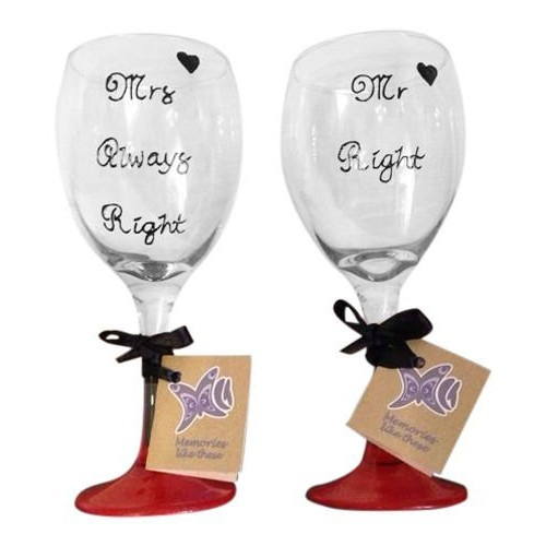 'Mr, idea regalo per matrimonio, motivo: Right Mrs Always Right'dipinta a mano, Set di 2 bicchieri da vino da 340 ml Memories-Like-These-UK rosso