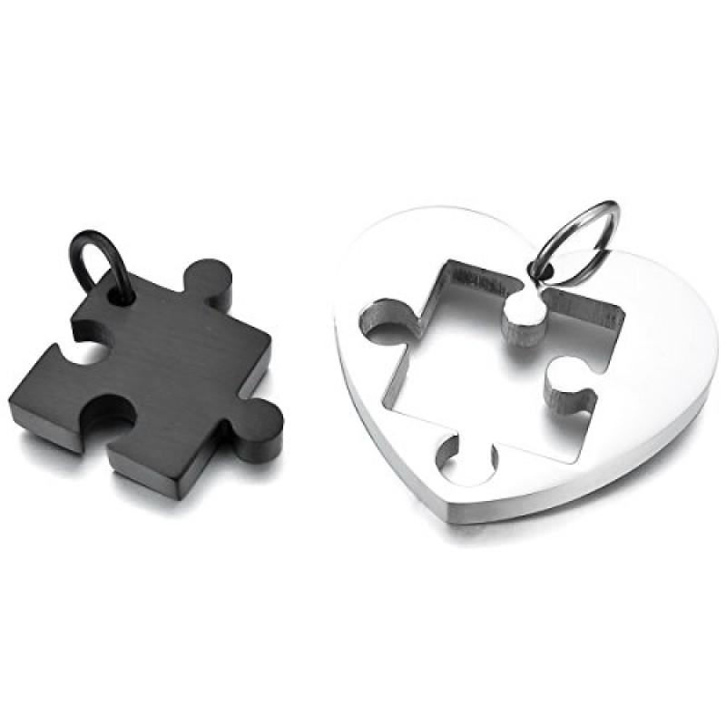 Per lui amp lei amore cuore puzzle acciaio inossidabile nero argento