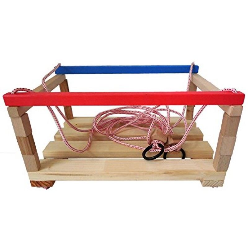 Giocattolo in legno altalena piccola per bambini con sbarre colorate corda e occhiello - Sbarre x letto bambini ...