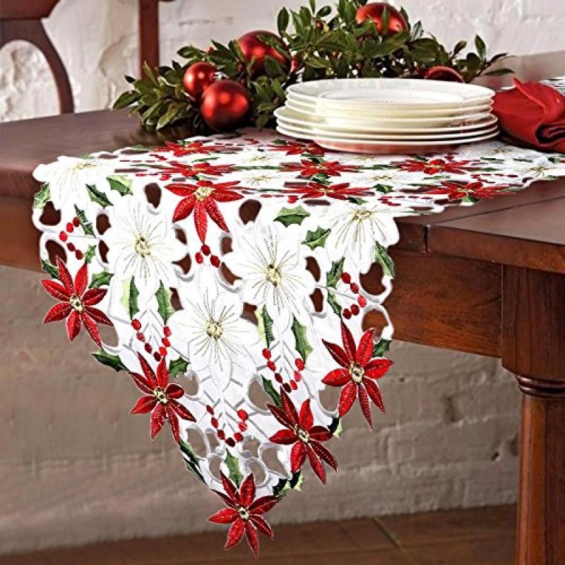 Ourwarm lusso ricamato runner da tavola natalizi agrifoglio e decorazioni per la tavola di - Decorazioni per la tavola di natale ...