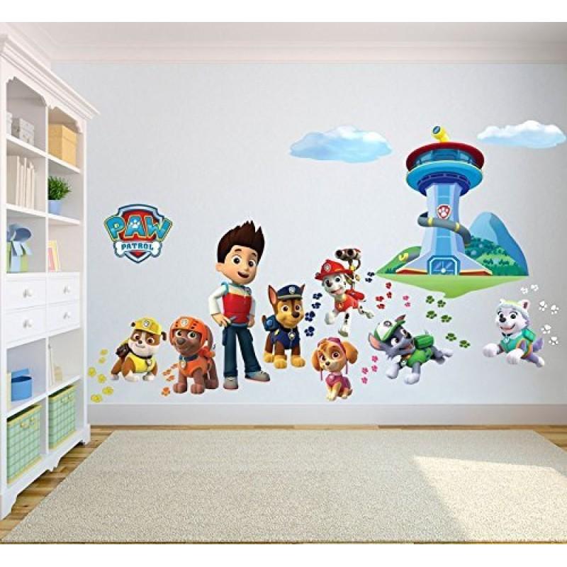Adesivi da parete 3d dei paw patrol la squadra dei - Adesivi camera bambini ...