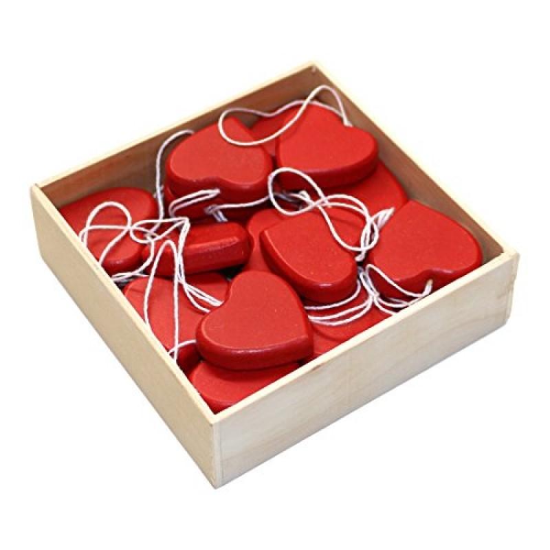 Confezione di 24 rosso mini cuore di legno albero di natale da parete ciondolo decorazioni - Decorazioni da parete in legno ...