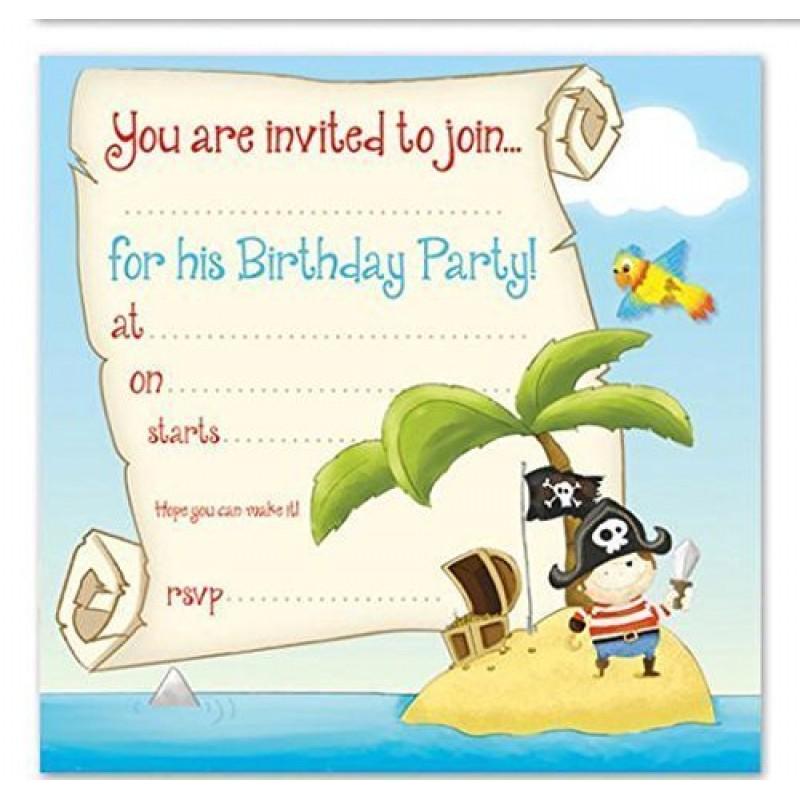 Super 16-Inviti di compleanno Biglietti di invito per feste, motivo: pirati RZ55