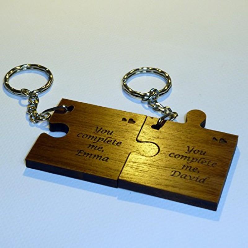 Conosciuto 2 portachiavi in legno a forma di tessere del puzzle, regalo per  OK81