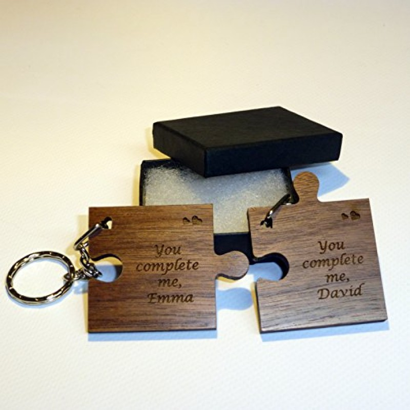 Amato 2 portachiavi in legno a forma di tessere del puzzle, regalo per  QN03