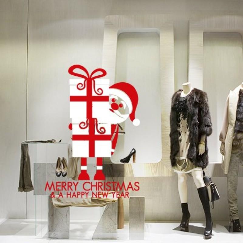 Favoloso Adesivi Murali ''Regali di Babbo Natale'' Vetrofanie natalizie  LP99