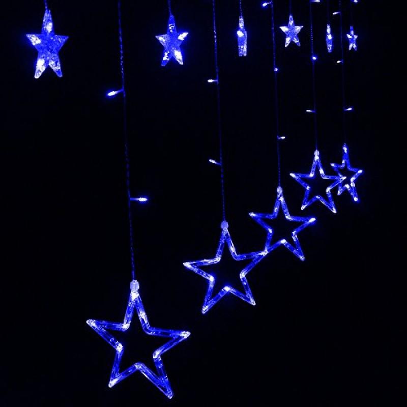 XGUO Catena Luminosa Luci Di Natale Con 2 Metri 12 Stelle 138 LED Stringa Luce  Spina