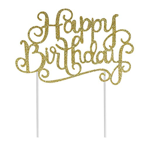 BESTONZON Confezione da 10 pezzi Gold and Sliver Happy Birthday Cake Topper, Wedding Cake Topper, Cake Topper fatto a mano, Cake Topper Glitter Par...