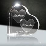 Cristallo, Ti Amo | Cuore in Vetro Laser 3D da 58 mm con Incisione | Il Regalo per Coloro Che amate o per l' Anniversario
