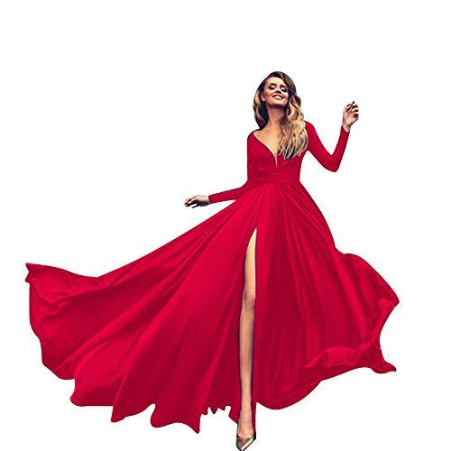 Donna Vestiti da Sera Cocktail Eleganti Corto Autunno Chiffon Abito Stampato Floreale Manica Lunga Rotondo Collo Sciolto Sottile Vestito da Cerimon...