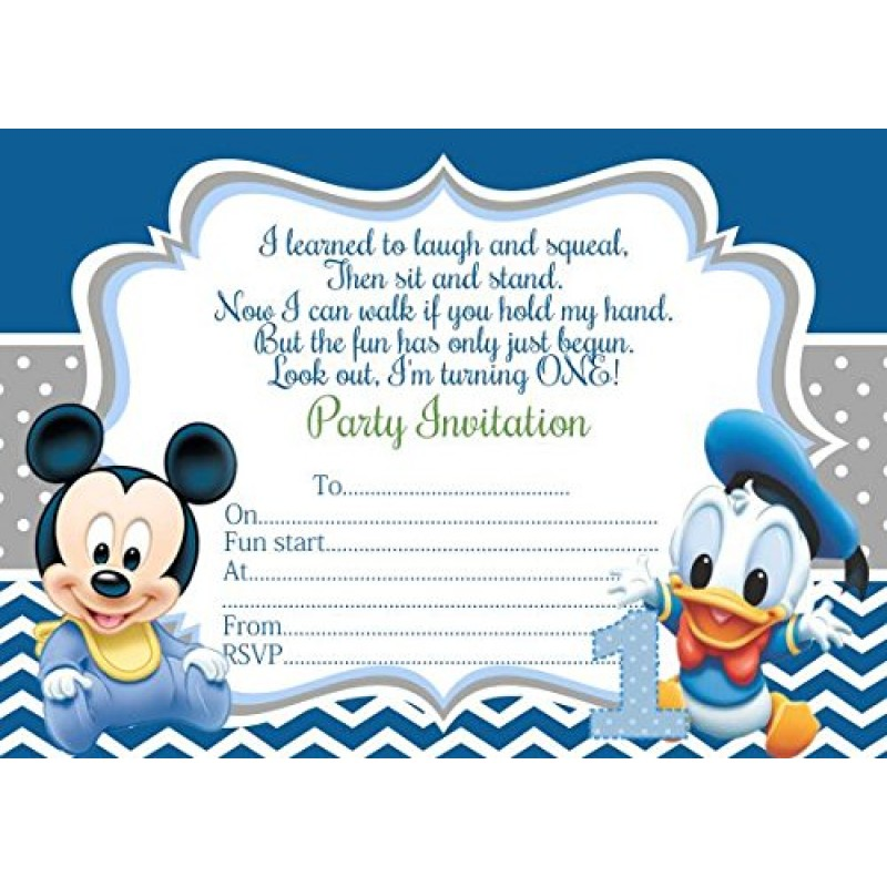 10, a forma di Minnie di Topolino, Paperino biglietti d'invito per