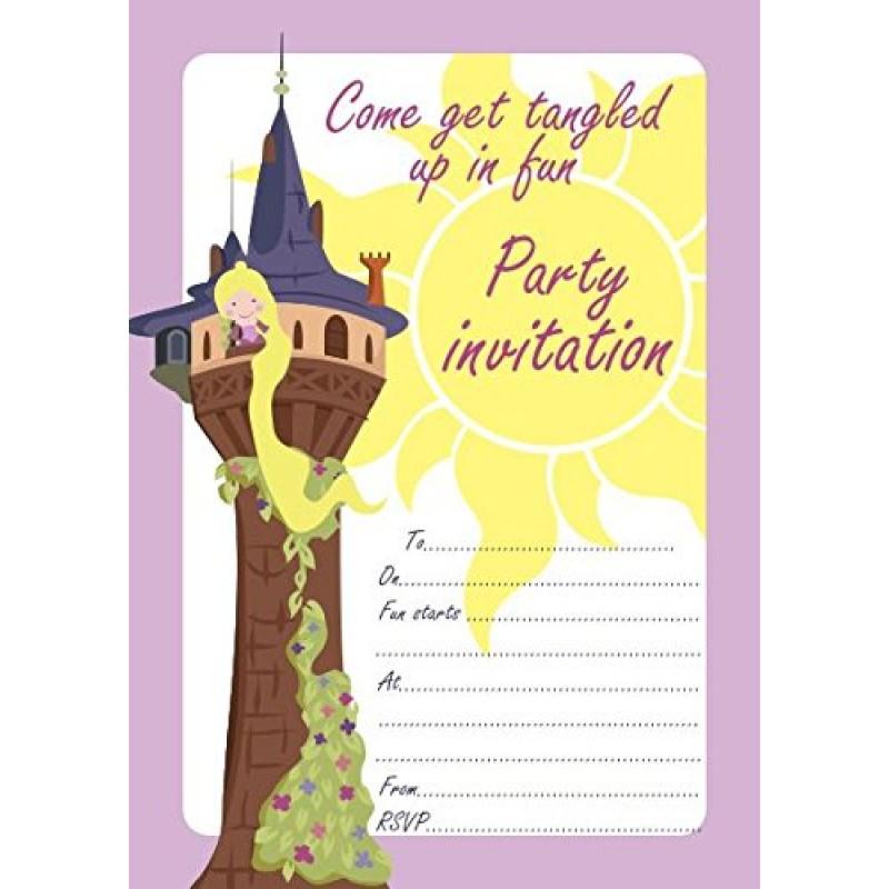 Tangled Rapunzel per bambini, confezione da 10 biglietti d'invito
