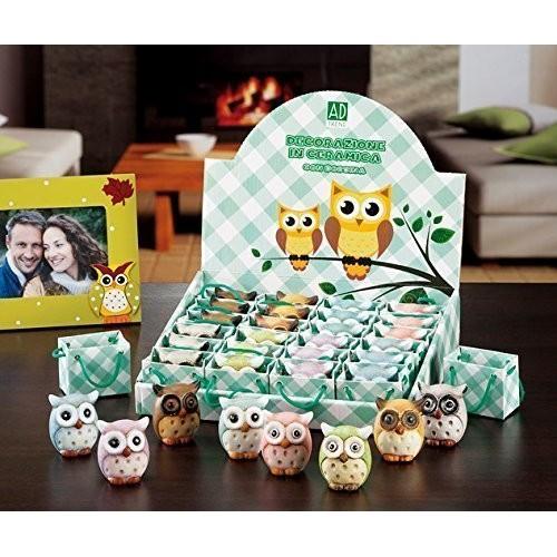 24 bomboniere di decorazione in ceramica mod. gufi ass. 8 colori cm. 5 x 3,5 x h. cm. 5,5