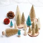 AerWo 24 Pz / 3 Colori / 4 Taglie Mini Alberi di Natale Tavolo Artificiale Top Albero di Natale per l'artigianato e le decorazioni di Natale