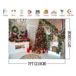 AIIKES 7x5FT Buon Natale Sfondo Scale per Interni Agrifoglio Camino Fondali Bambini Adulto Ritratto Ripresa di Sfondo Natale Decorazione per Feste ...