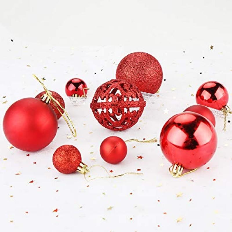 Aitsite 100PCS Palle di Natale Plastica Palle e Palline per LAlbero Impostare Ornamento DellAlbero per la Decorazione dellalbero di Natale