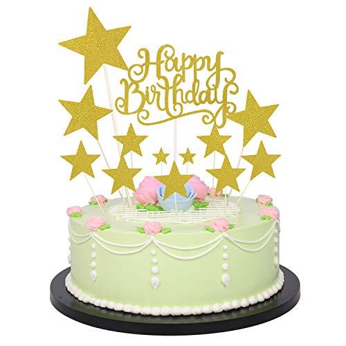 Allazone Cake Topper Compleanno Decorazione per Torte (Oro e Oro)