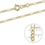 Amberta Collana in Oro Giallo 9 Kt - Catenina Figaro 1.4 mm - Collanina Regolabile da 46 a 51 cm