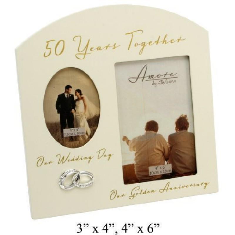 The Emporium Home Amore Cornice Portafoto Da Regalo Per Il 50 Anniversario Di Matrimonio Anniversario D Oro 15 X 10 Cm Color Crema
