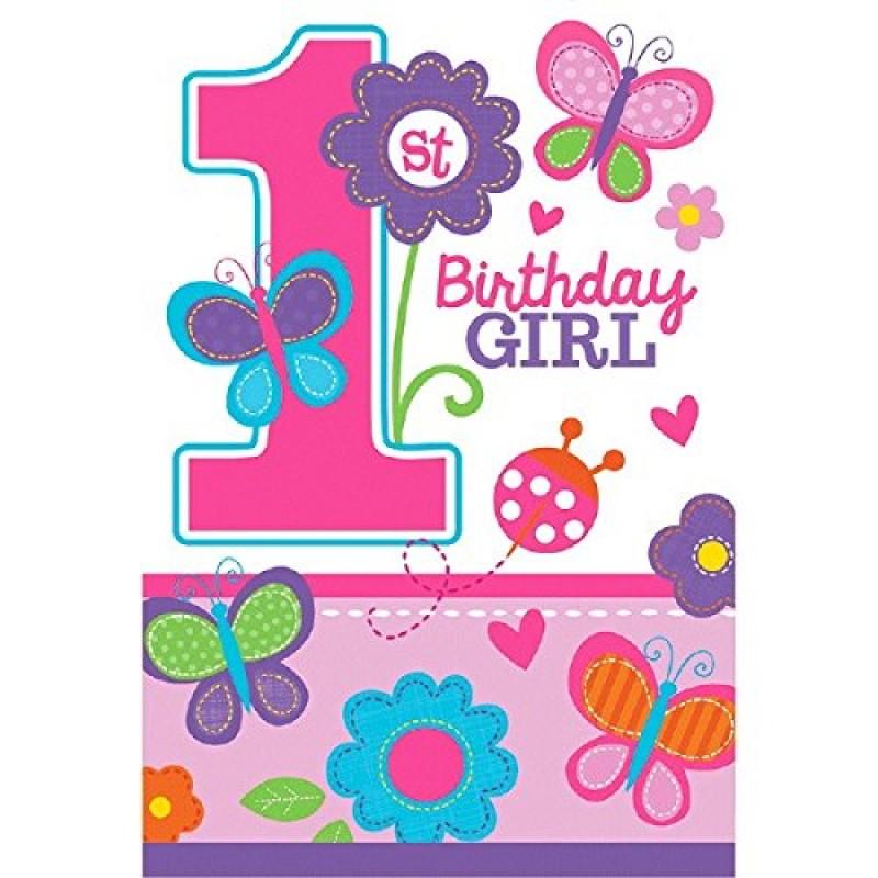 Amscan Set Di 8 Biglietti Di Invito Per 1 Compleanno Per