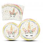 AMZTM Piatti Tovaglie di Unicorno Magico - 48 Pezzi Set di Articoli per Feste Decorazioni per Feste per Bambini Ragazze Festa di Compleanno Baby Sh...