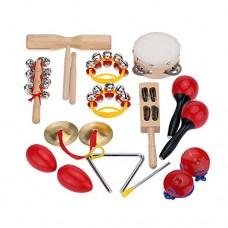 Andoer® Kit Set di Percussioni per Bambini Piccoli Strumenti Musicali Giocattoli Banda Ritmo con il Caso